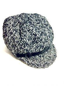 NINE WEST | כובע פפיטה שחור לבן ניין ווסט