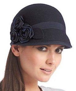 NINE WEST | כובע לבד כחול שושנים ניין ווסט