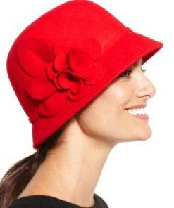 NINE WEST | כובע נשים אדום אלגנטי ניין ווסט