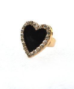 Thalia   סט עגילים וטבעת לב משובץ טהליה
