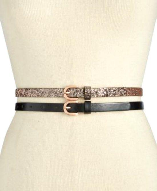 INC | סט 2 חגורות שחור/זהב אייאנסי