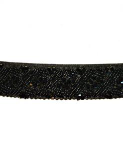 INC | חגורת חרוזים יוקרתית שחורה נמתחת אייאנסי
