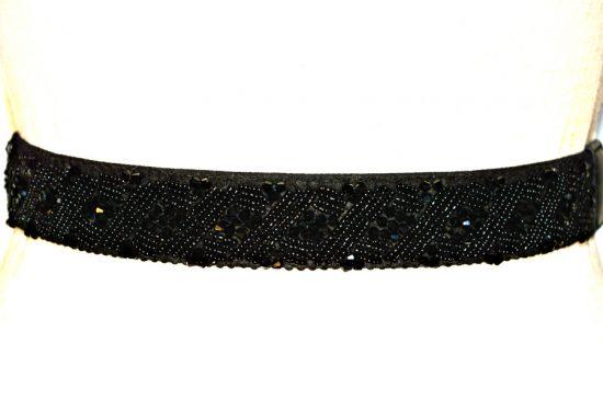 INC   חגורת חרוזים יוקרתית שחורה נמתחת אייאנסי