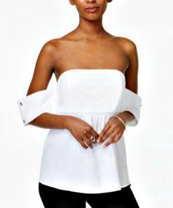 Bar | חולצת סטרפלז פופלין בר