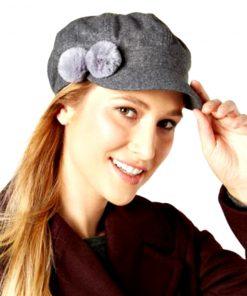 AUGUST HAT | כובע קסקט אפור פונפון אוגוסט הט