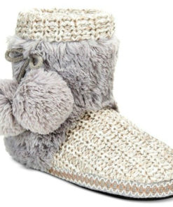 Muk Luks   נעלי בית סרוגות אפורות מאק לאקס