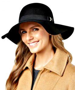 NINE WEST   כובע שחור רחב שוליים ניין ווסט