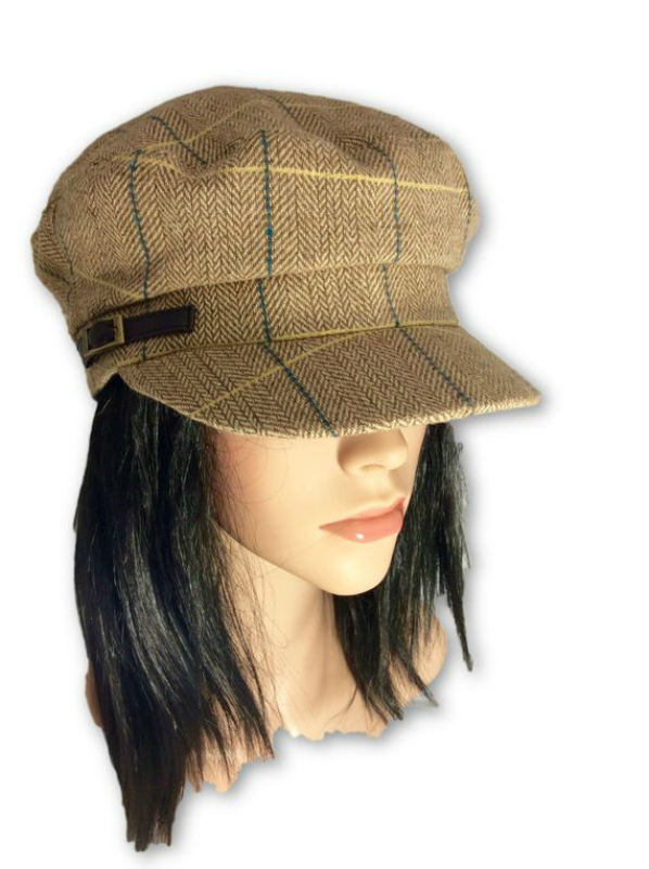 AUGUST HAT   כובע קסקט משבצות בז אוגוסט הט