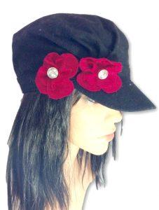 AUGUST HAT | כובע שחור פרח ורוד אוגוסט הט