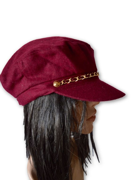 AUGUST HAT | כובע בורדו שרשרת אוגוסט הט
