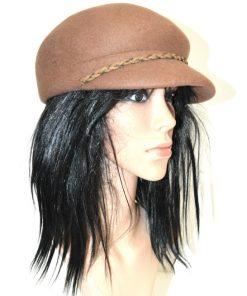 NINE WEST   כובע חום פס צמה ניין ווסט