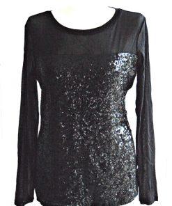 INC   חולצת פייטים שחורה איאנסי