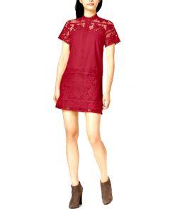 Kensie | שמלת בורדו קונטראסט קנסי