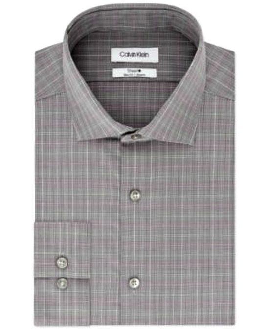 Calvin Klein | חולצה אלגנטית מבית האופנה ״קלווין קליין שרוול ארוך גזרת סלים פיט צבע: אפור