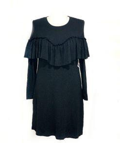 Kensie | שמלה שחורה וולן קנסי