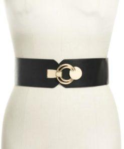 INC | חגורה שחורה נמתחת אבזם זהב אייאנסי