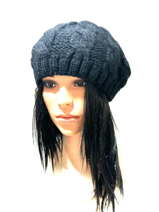 Aqua   כובע ברט שחור אקווה