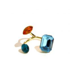 Dyadema | טבעת אבני סברובסקי זהב/תכלת דיאדמה