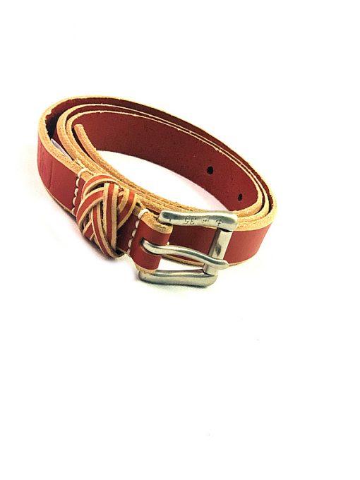 Sperry   חגורת עור חום/אדום ספירי