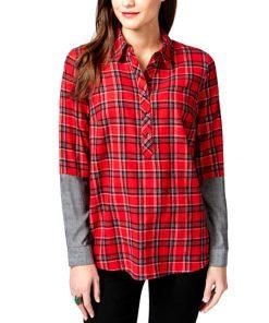 Bass | חולצת משבצות מכופתרת אדום בס