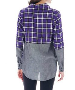 Bass | חולצת משבצות סגולה בס