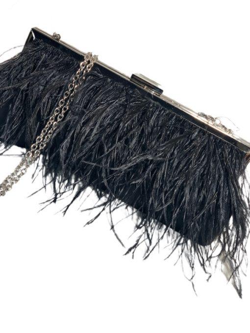 INC   קלאץ׳/תיק ערב שחור נוצות איאנסי