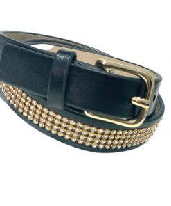 Style   חגורה משובצת שחורה סטייל